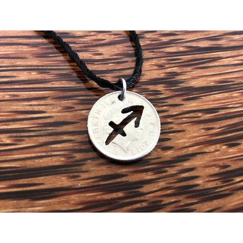 Sagittarius Zodiac Cut Coin Necklace