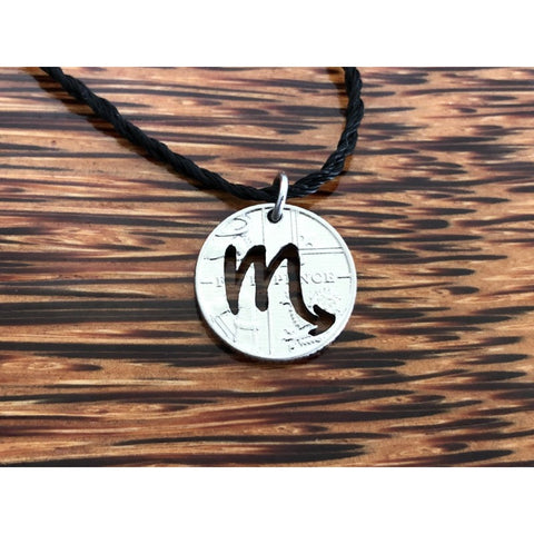 Scorpio Zodiac Sign Cut Coin Necklace