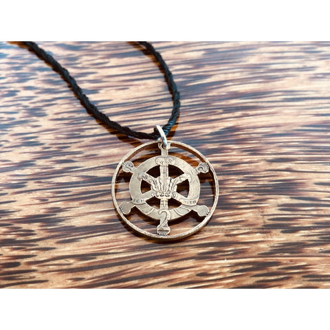 Ship Wheel Cut Coin Necklace