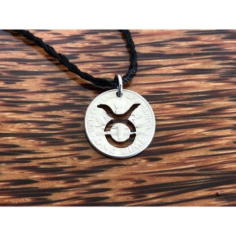 Taurus Zodiac Sign Cut Coin Necklace