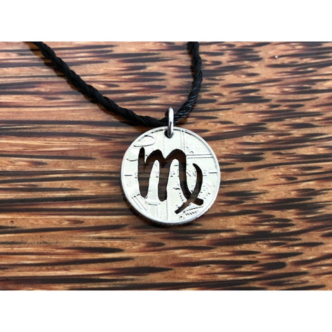 Virgo Zodiac Sign Cut Coin Necklace