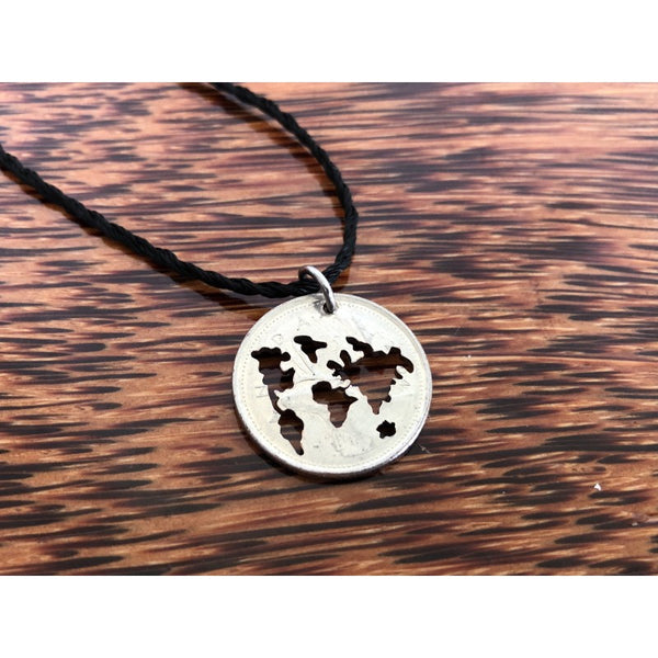World Map Cut Coin Necklace