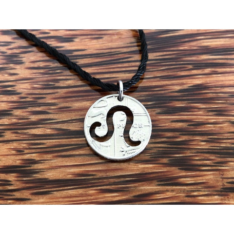 Leo Zodiac Sign Cut Coin Necklace