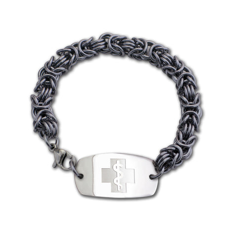 Byzantine Bracelet - Small Emblem - Lobster or Safety Clasp - Black Ice
