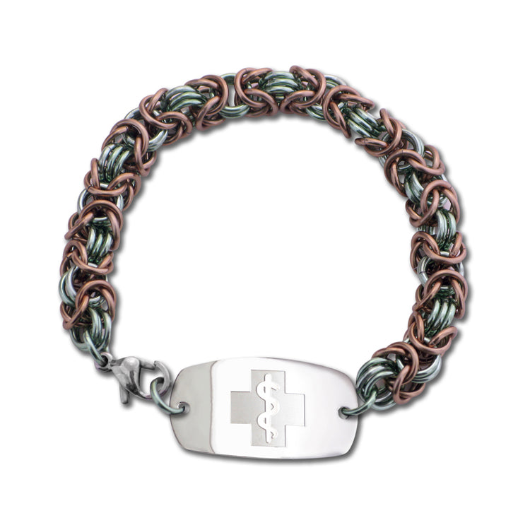 Byzantine Bracelet - Small Emblem - Lobster or Safety Clasp - Champagne Ice & Sage Ice