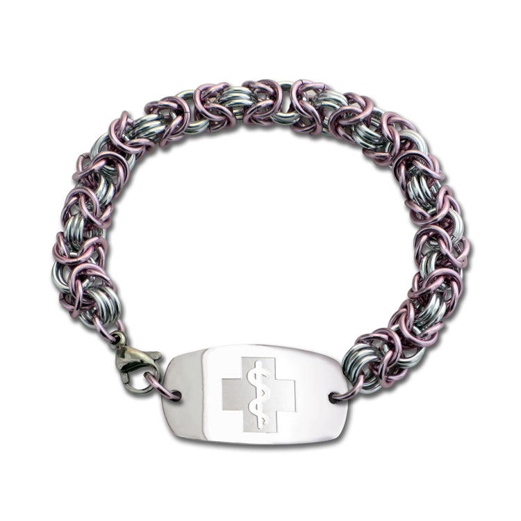 Byzantine Bracelet - Small Emblem - Lobster or Safety Clasp - Pink Ice & Silvered Ice