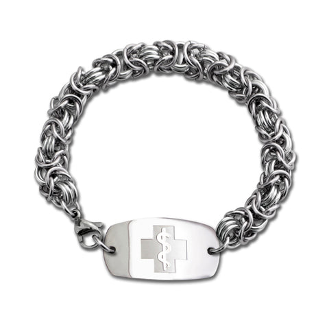 Byzantine Bracelet - Small Emblem - Lobster or Safety Clasp - Silver Ice