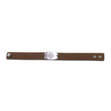 NEW! Casual Leather Wristband - Large Emblem - Snap Closure - Brushed Applewood Brown