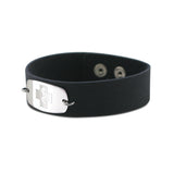 NEW! Casual Leather Wristband - Small Emblem - Snap Closure - Brushed Navy