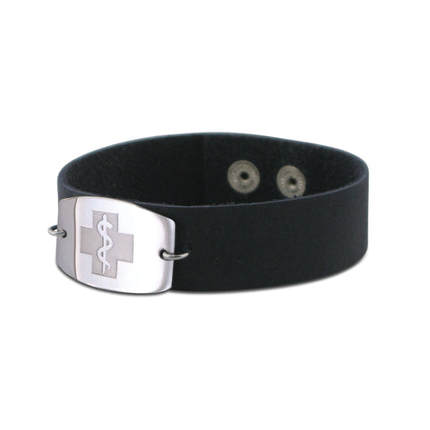 NEW! Casual Leather Wristband - Large Emblem - Snap Closure - Brushed Navy