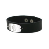 NEW! Casual Leather Wristband - Small Emblem - Snap Closure - Smooth Raging Black