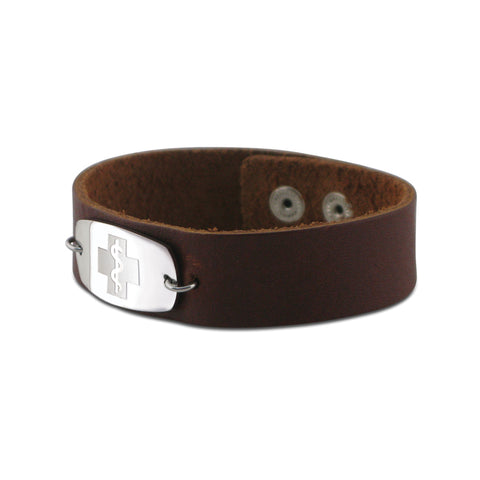 NEW! Casual Leather Wristband - Small Emblem - Snap Closure - Smooth Raging Brown