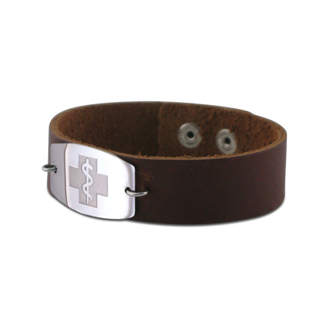NEW! Casual Leather Wristband - Large Emblem - Snap Closure - Smooth Raging Brown