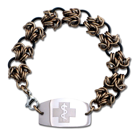 Double Dragon Claw Bracelet - Large Emblem - Lobster or Safety Clasp - Black & Champagne Ice
