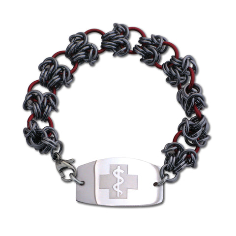 Double Dragon Claw Bracelet - Large Emblem - Lobster or Safety Clasp - Red & Black Ice