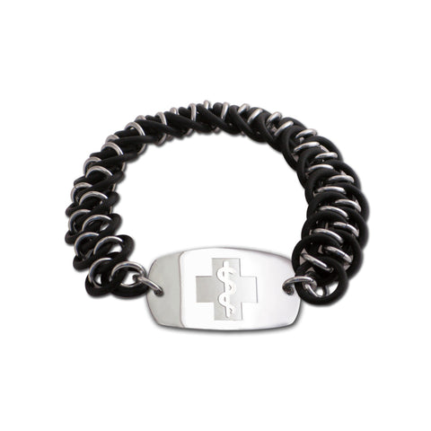 Dragon Scale Bracelet - Small Emblem - No Clasp - Black & Black Ice