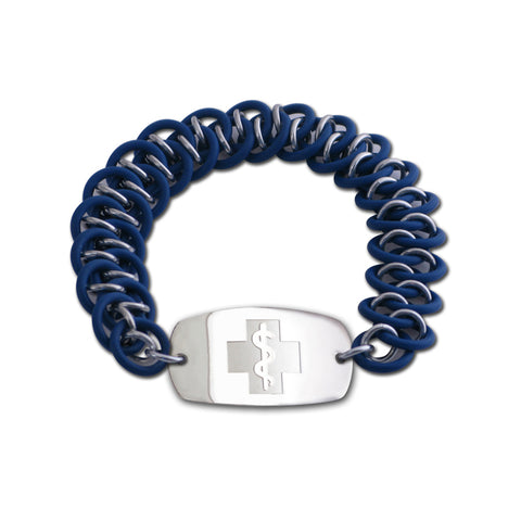 Dragon Scale Bracelet - Small Emblem - No Clasp - Blue & Silvered Ice