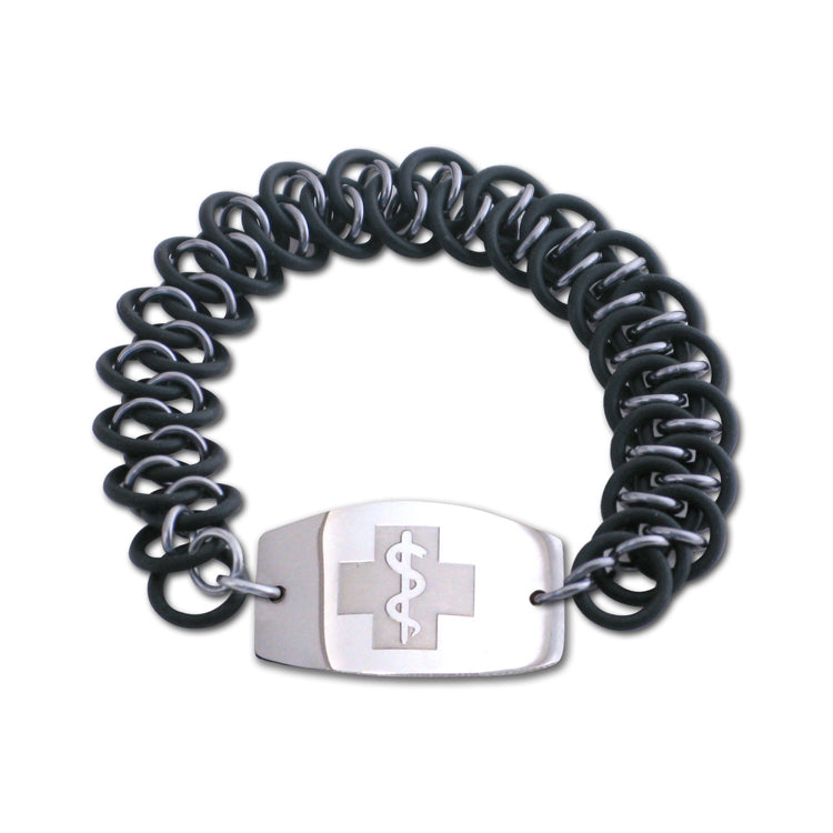 Dragon Scale Bracelet - Large Emblem - No Clasp - Black & Black Ice