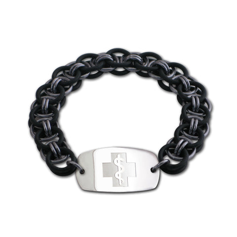 Helm Bracelet - Small Emblem - No Clasp - Black & Black Ice