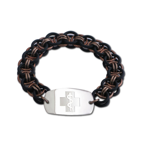 Helm Bracelet - Small Emblem - No Clasp - Black & Champagne Ice