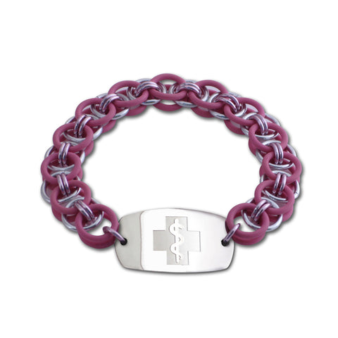 Helm Bracelet - Small Emblem - No Clasp - Pink & Silvered Ice