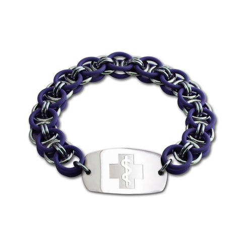 Helm Bracelet - Small Emblem - No Clasp - Purple & Black Ice