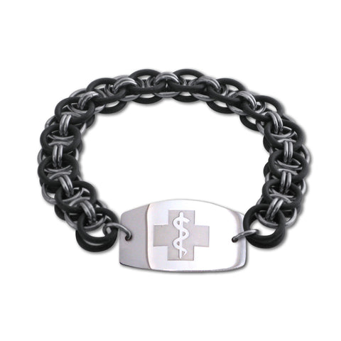 Helm Bracelet - Large Emblem - No Clasp - Black & Black Ice