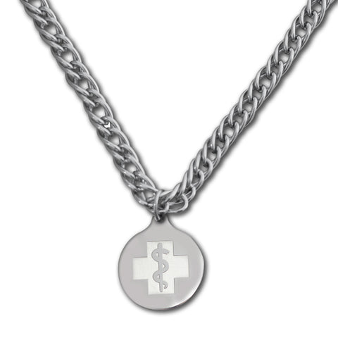 Herringbone Necklace - Medallion Emblem - Lobster Clasp