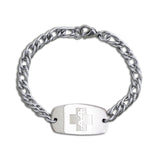 Herringbone Bracelet - Small Emblem - Split Chain - Lobster or Safety Clasp