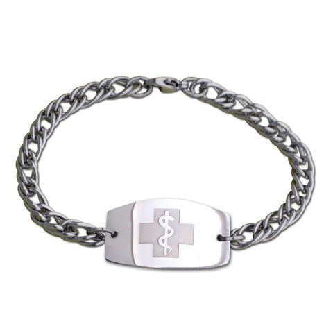 Herringbone Bracelet - Large Emblem - Split Chain - Lobster or Safety Clasp