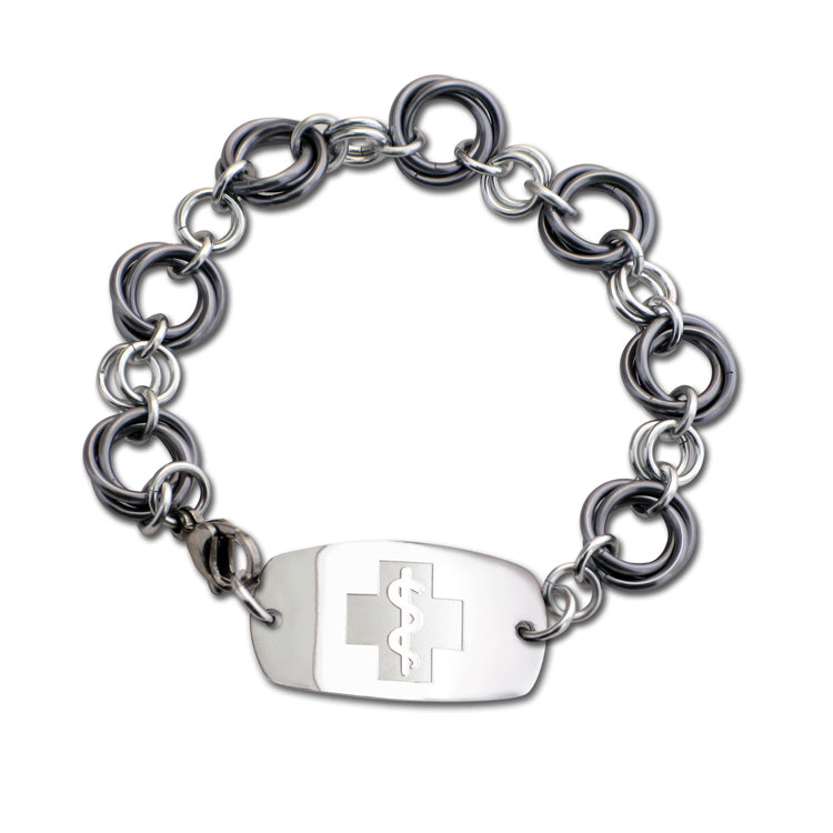 Large Love Knots Bracelet - Small Emblem - Lobster or Safety Clasp - Black Ice & Silvered Ice