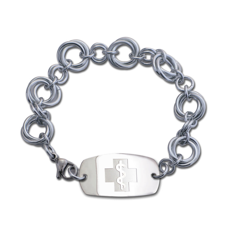 Large Love Knots Bracelet - Small Emblem - Lobster or Safety Clasp - Silvered Ice