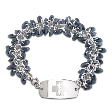NEW! Frosted Ice Bracelet - Small Emblem - Blueberry & Silver Ice - Lobster or Safety Clasp