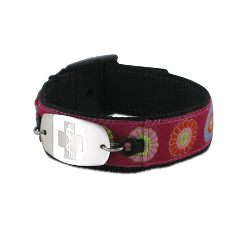 NEW! Sports Band - Small Emblem - Buckle Closure - Flowers Pink