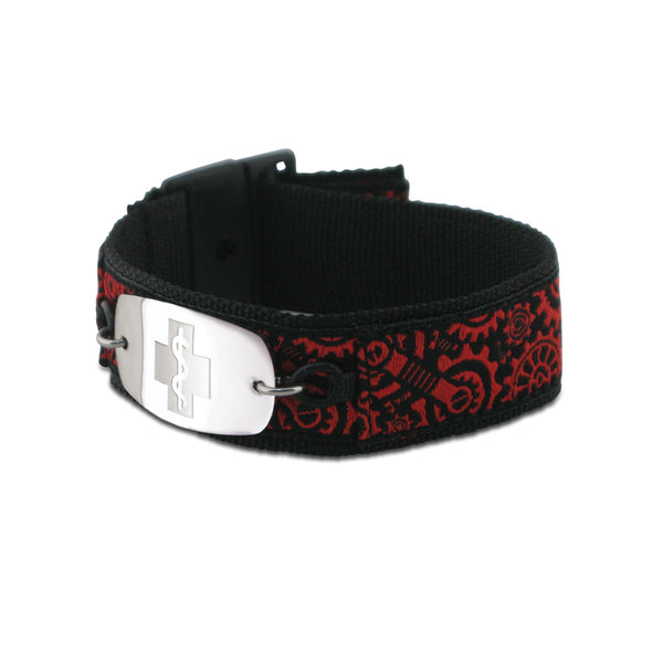 NEW! Sports Band - Small Emblem - Buckle Closure - Gears Red