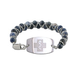 NEW! Stone and Steel Bracelet - Large Emblem - Lobster Clasp - Sodalite