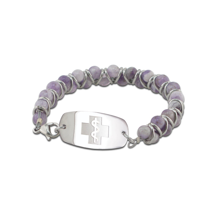 NEW! Stone and Steel Bracelet - Small Emblem - Lobster Clasp - Amethyst