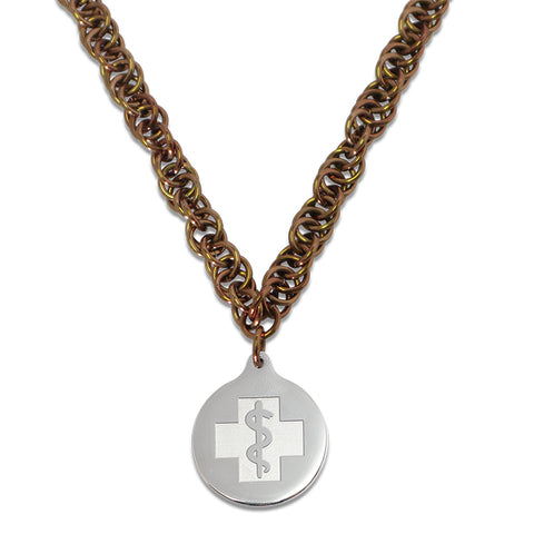Twisted Elements Necklace - Medallion Emblem - Lobster Clasp - Bronzed Ice