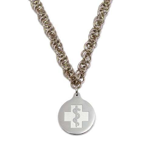 Twisted Elements Necklace - Medallion Emblem - Lobster Clasp - Champagne Ice