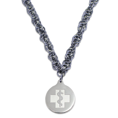 Twisted Elements Necklace - Medallion Emblem - Lobster Clasp - Gunmetal Ice