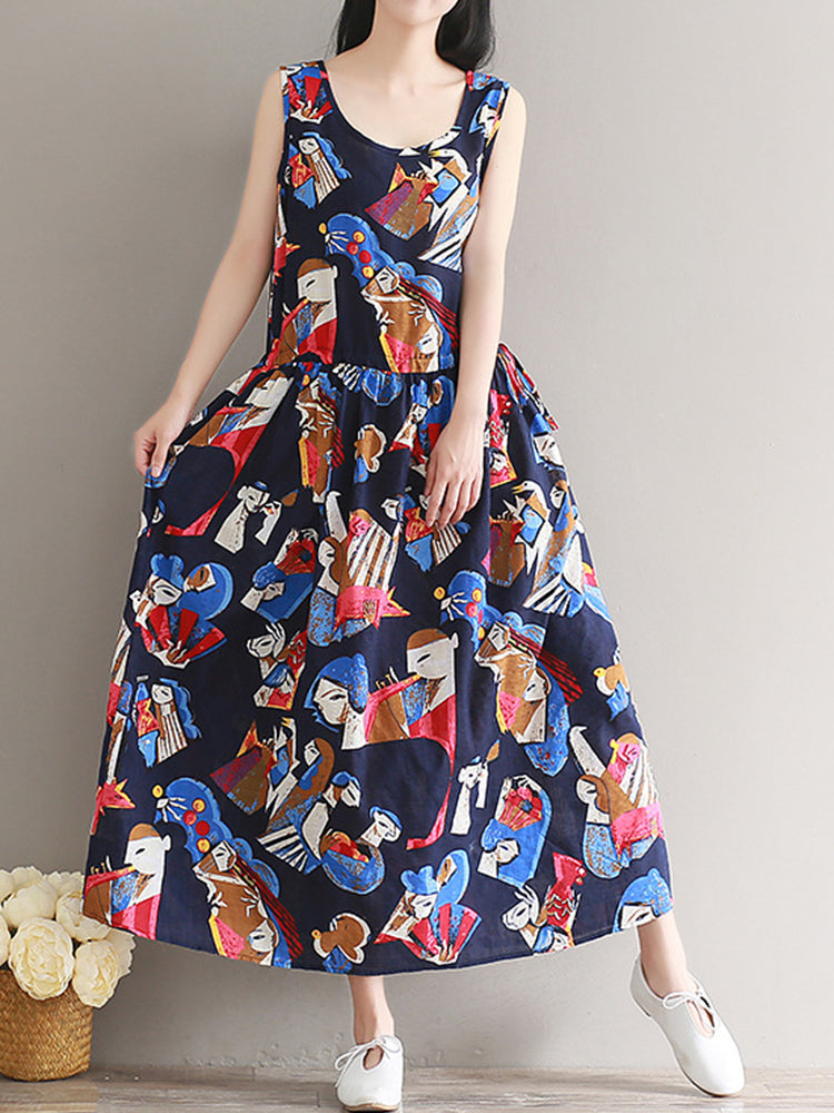 Women Sleeveless Printed Round Neck Loose Hem Dresses