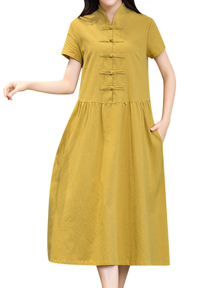 Ethnic Women Pure Color Frog Buttons Short Sleeve Pocket Dress
