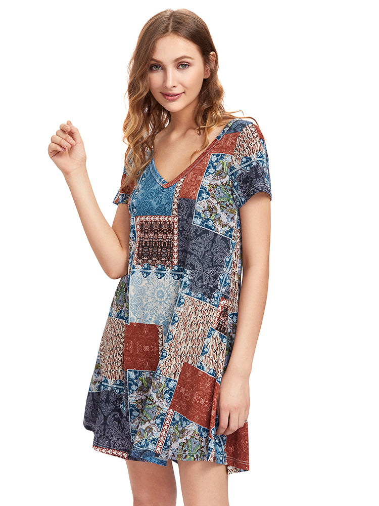 OEUVRE Women Vintage Short Sleeve V-Neck Printed Mini Dress