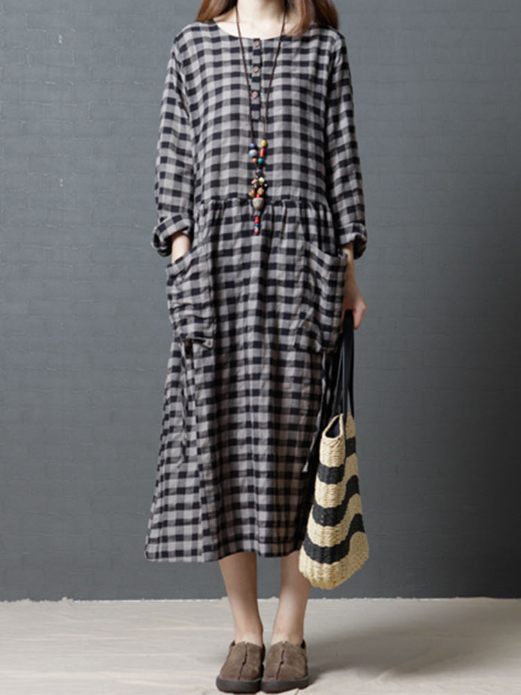 Vintage Women Plaid O-neck Loose Long Sleeve Dress