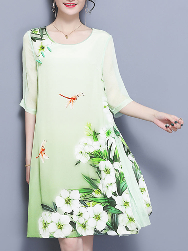 Elegant Women Flower Printed Dress
