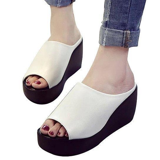 Fiji Platform Wedges Fabulous And Minimal -Size: Size 9, Color: MOONSHINE WHITE