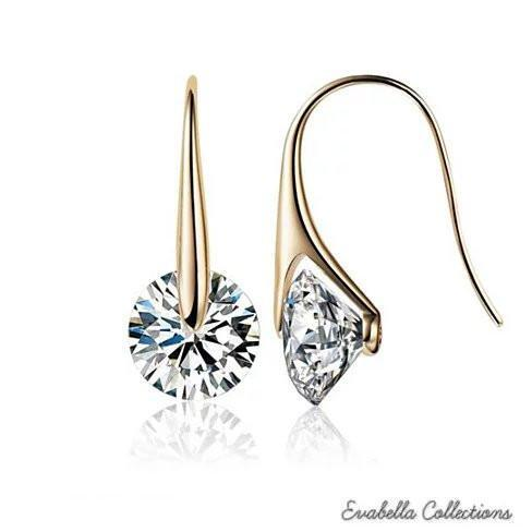 BOUTIQUE DIAMONDS - Charming Swarovski Drop Earrings - Style: 18kt Gold Plated - 925 Silver