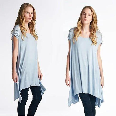 Butterfly Whisper Light Flowy Relaxed fit Round Neck Top Made in USA - Color: Mint