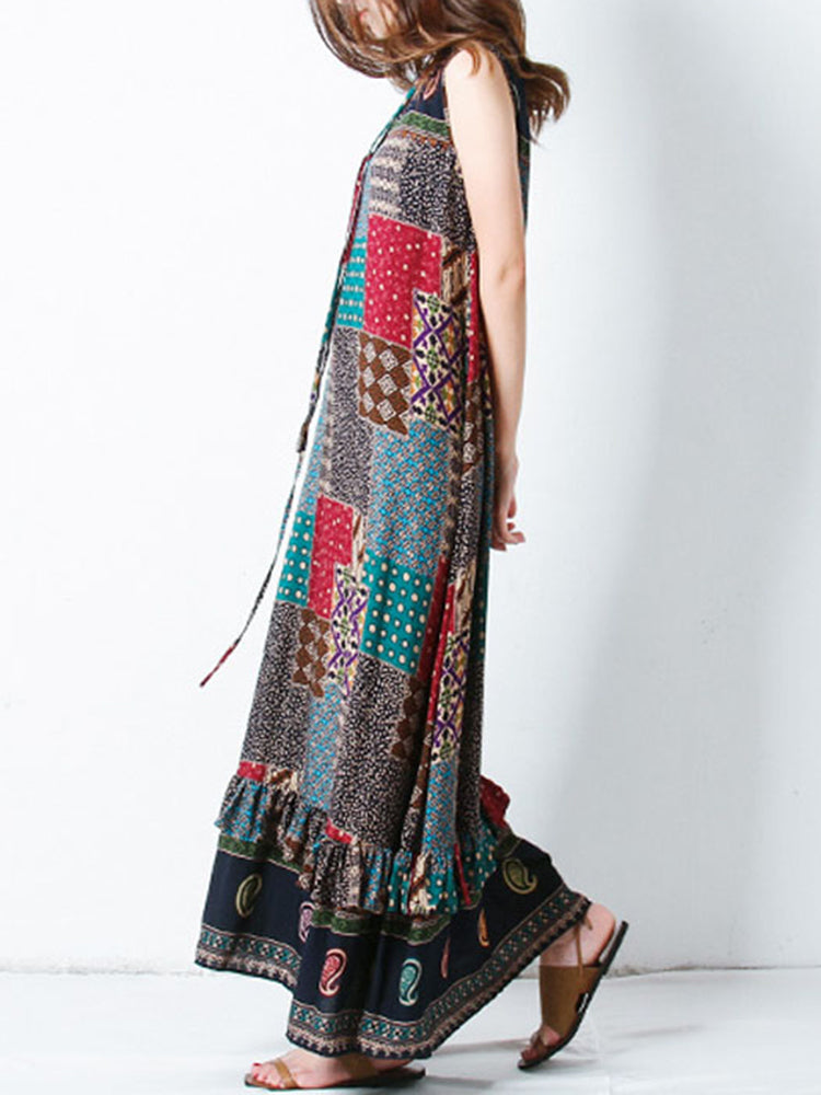 Bohemian Women Sleeveless O-Neck Printed Maxi Tank Dress
