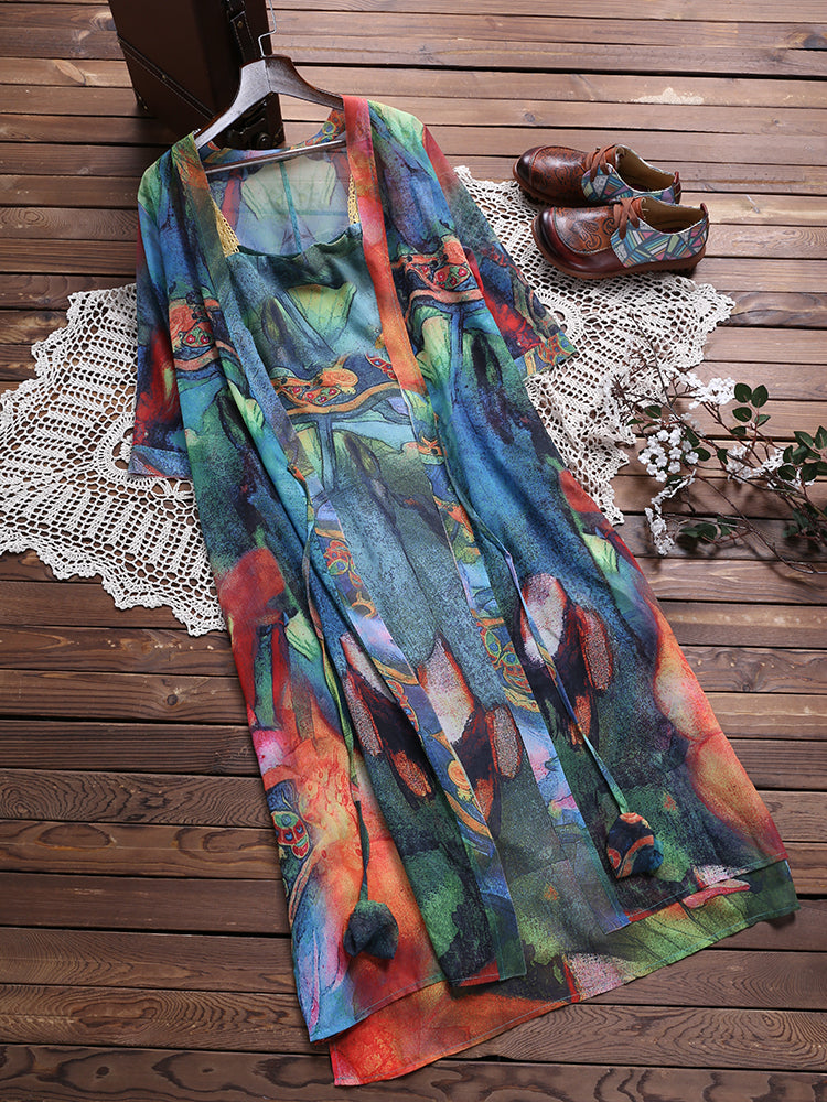 Elegant Floral Two Pieces Set Strap 3/4 Sleeve Vintage Dress